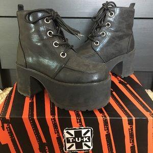 T.U.K Distressed Ankle Nosebleed Platform Boots